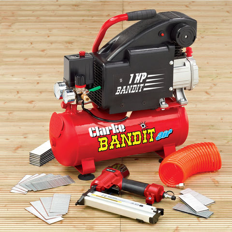 Image of Clarke Clarke Bandit 4 - 8 Litre Air Compressor Nailing / Stapling Kit