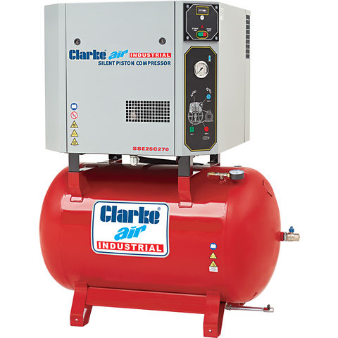 Image of Clarke Clarke SSE25C270 5.5hp 270Ltr Silenced Reciprocating Air Compressor