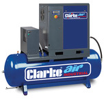 Clarke CXR15RD 53cfm 270Litre 15HP Industrial Screw Compressor with Air Receiver & Dryer (400V)