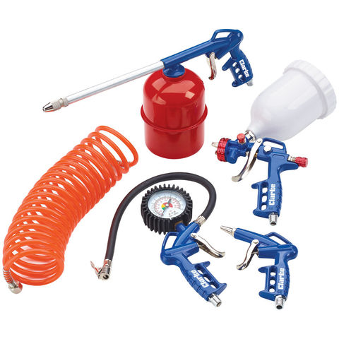 Image of Clarke Clarke KIT1100 5 Piece Air Tool Kit With Gravity Fed Spray Gun