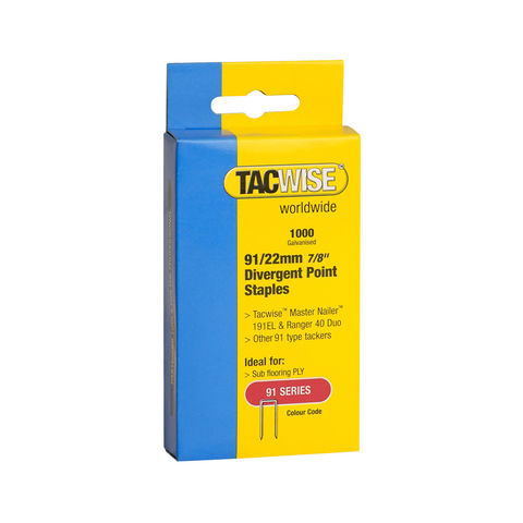 Image of Tacwise Tacwise 91 Series 22mm Divergent Point Staples 1000 pack