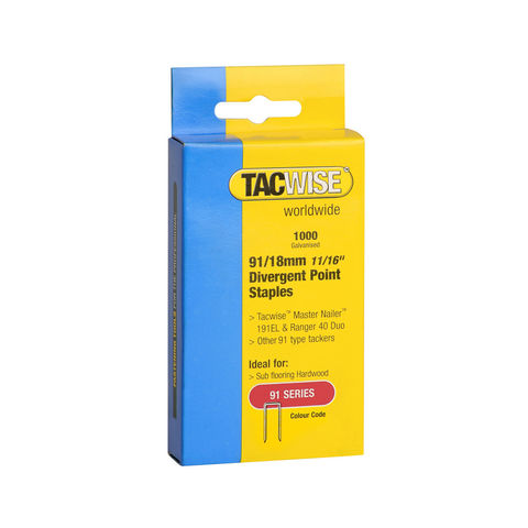 Image of Tacwise Tacwise 91 Series 18mm Divergent Point Staples 1000 pack