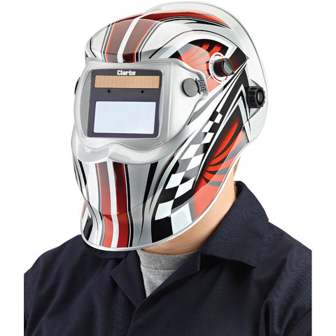 Photo of Clarke clarke gwh6 chequer design arc activated solar powered grinding/welding headshield