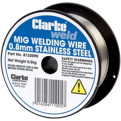 Clarke MIG Stainless Steel Welding Wire 0.8mm - 0.5kg - Machine ...