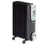 Clarke 2kW 9 Fin Black Oil Filled Radiator with Timer