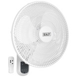"Sealey SWF16WR 16"" 3-Speed Wall Fan with Remote Control"
