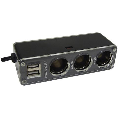 Image of Streetwize 12V Triple Accessory Plug with Twin USB