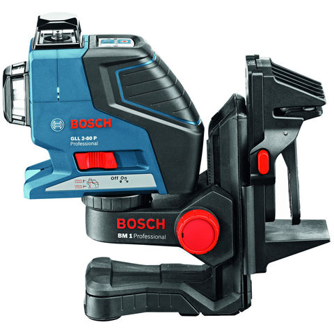 Photo of Machine mart xtra bosch gll 2-80 p professional line laser- bm1 wall mount/ceiling clamp- lr 2 laser receiver & l-boxx