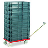 Barton Storage 88880-01WH/6412 Euro Container Dolly With Handle & 9 x 22ltr Containers