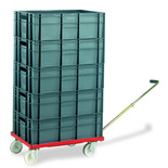 Barton Storage 88880-01WH/6420 Euro Container Dolly With Handle & 5 x 40ltr Containers