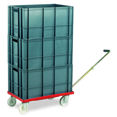 Image of Machine Mart Xtra Barton Storage 88880-01WH/6432 Euro Container Dolly With Handle & 3 x 60ltr Containers