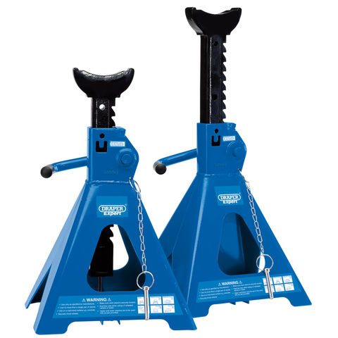 Image of Draper Draper ARAS05-E Pair of Pneumatic Rise Ratcheting Axle Stands (5 Tonne)