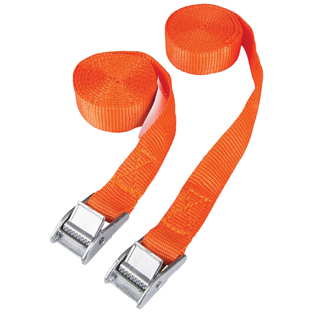 Orange 2m Luggage Straps//Tie Downs with Metal Cam Buckle Pack of 2