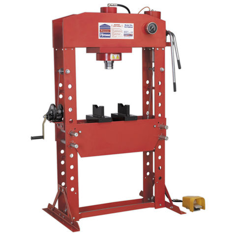 Image of Sealey Sealey YK759FAH 75 Tonne Air/Hydraulic Press Floor Press with Foot Pedal