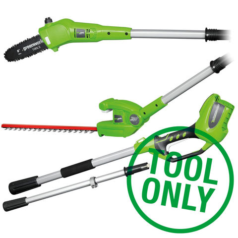 Image of Greenworks Greenworks G24PHT 24V Long Reach Hedge Trimmer and Polesaw (Bare Unit)