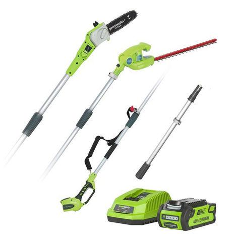 Image of Greenworks Greenworks G40PSHK2 40V Cordless Long Reach Hedge Trimmer and Pruner Kit