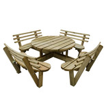 Forest 82x246x246cm Circular Picnic Table with Seat Backs