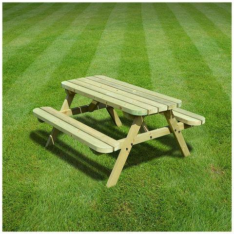 Image of Rutland County Rutland County OJPBR4-LGR Oakham Junior Picnic Bench - Rounded - 4ft