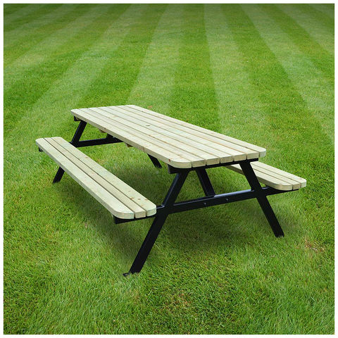 Image of Rutland County Rutland County SROPB8 Oakham Steel Picnic Bench - Rounded - 8ft