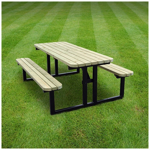 Image of Rutland County Rutland County SRTPB8 Tinwell Steel Rounded Picnic Bench - 8ft