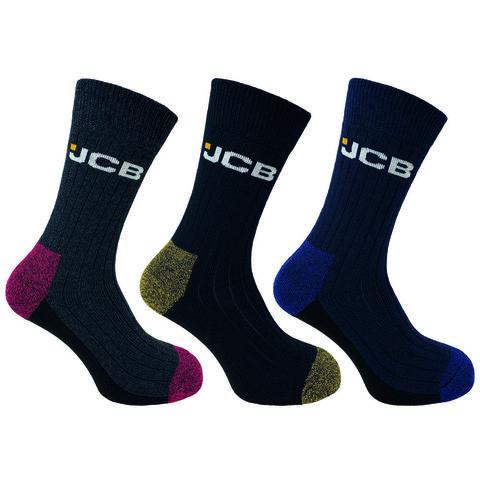 Jcb Jcb Mens Assorted Coloured Stay Dry Boot Work Socks 3 Pairs