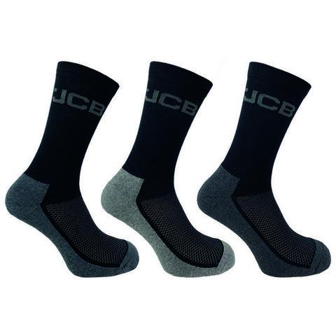 Jcb Jcb Mens Black Cotton Rich Everyday Breathable Work Boot Socks 3 Pairs