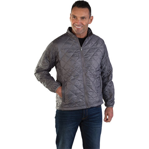 Image of Aqua Aqua Lightweight Quilted Interactive Jacket Medium Grey
