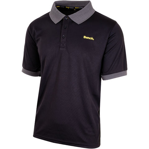 Image of Bench Bench Black/Grey Lightweight Poly Polo Shirt - Various Sizes