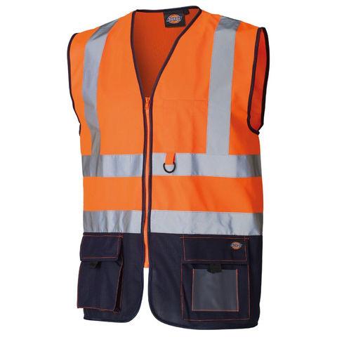 Dickies Dickies Hi Vis Two Tone Technical Waistcoat Orange Navy