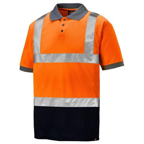 Dickies Dickies Hi Vis Two Tone Polo Shirt Orange Navy