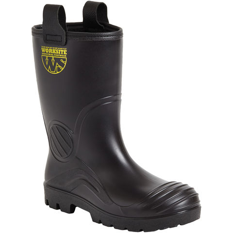 Worksite Black Fur Lined Waterproof Groundwater Rigger Boot Sizes 8 To 12