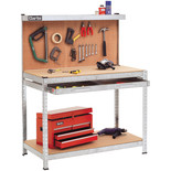 Clarke CWB-G1B Galvanised Workbench with Pegboard Back Panel & Large Drawer