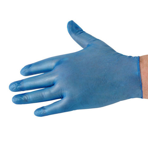 National Abrasives Box Of 100 Blue Vinyl Non Sterile Lightly Powdered Disposable Gloves Large