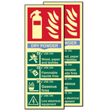 Photo-Luminescent Dry Powder Fire Extinguisher Signs (Twin Pack)