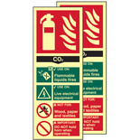Photo-Luminescent CO2 Fire Extinguisher Signs (Twin Pack)