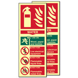 Photo-Luminescent Water Fire Extinguisher Signs (Twin Pack)