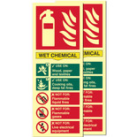 Photo-Luminescent Wet Chemical Fire Extinguisher Signs (Twin Pack)
