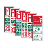 Fire Extinguisher Signs Bundle (Pack Of 6 Assorted Signs)