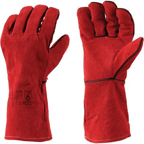 """leather gloves welding metalwork milling soldering mig welder gauntlets 10/"""""""