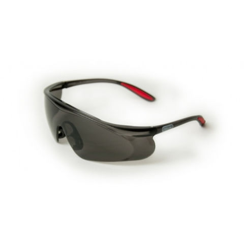 Image of Machine Mart Xtra Oregon Black Lens Safety Glasses With Black and Red Frame