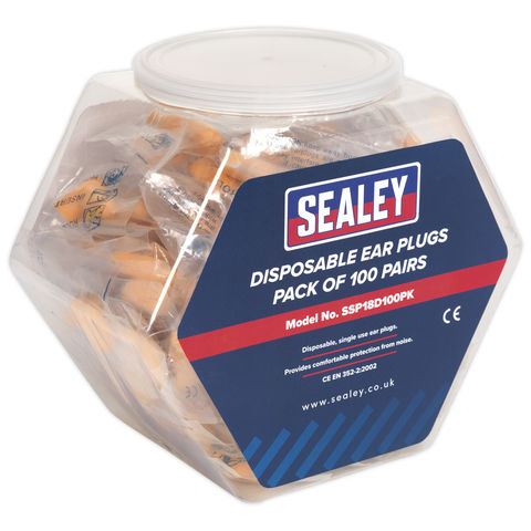 Sealey Sealey Ssp18d100pk Ear Plugs Disposable Pack Of 100 Pairs