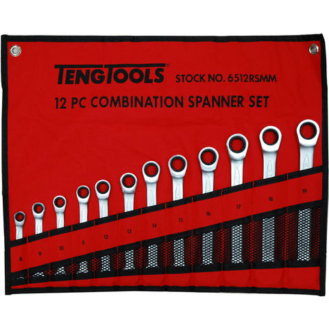 Image of Teng Teng 6512RSMM 12 Piece Metric Ratcheting Combination Spanner Set