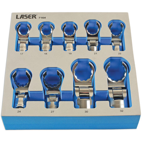 Image of Laser Laser 7164 1/2'' Drive 9 Piece Flexible Crows Foot Wrench Set