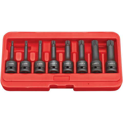 "Image of Clarke Clarke CIS12/8S 8 Piece Impact Spline Bit Socket Set – 1/2"" Drive"