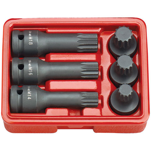 Image of Clarke Clarke CISSB12/6S 6 piece Impact Spline Bit Socket Set – 40 and 78mm length