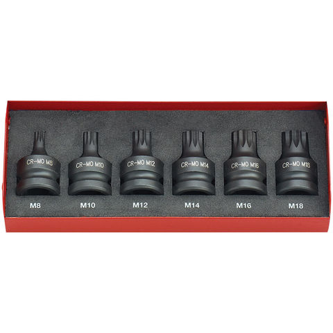 "Image of Clarke Clarke CIS12/6SB 6 Piece Impact Spline Bit Socket Set – 1/2"" Drive"