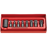 "Clarke CIS12/9S 9 Piece Impact Spline Bit And 1/2"" Drive Bit Holder Set"