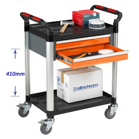Image of Machine Mart Xtra Barton Storage WHTT2SS/D2 2 Shelf Trolley With 2 Drawers