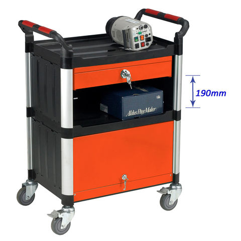 Image of Machine Mart Xtra Barton Storage WHTT3SS/CAB 3 Shelf Trolley With Drawer And Cabinet