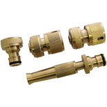 4 Piece Brass Hose Fitting Set